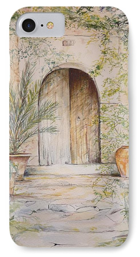 Door IPhone 7 Case featuring the painting Old Wooden Door by Lizzy Forrester