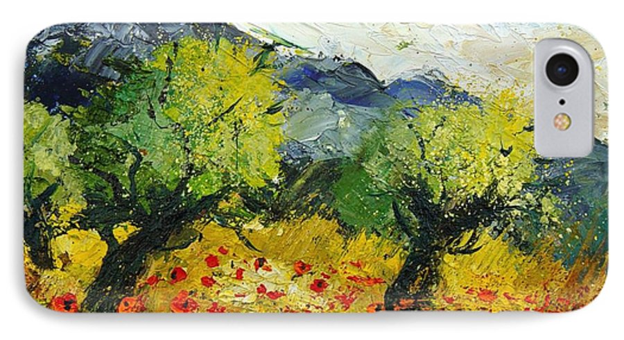 Flowers IPhone 7 Case featuring the painting Olive Trees And Poppies by Pol Ledent
