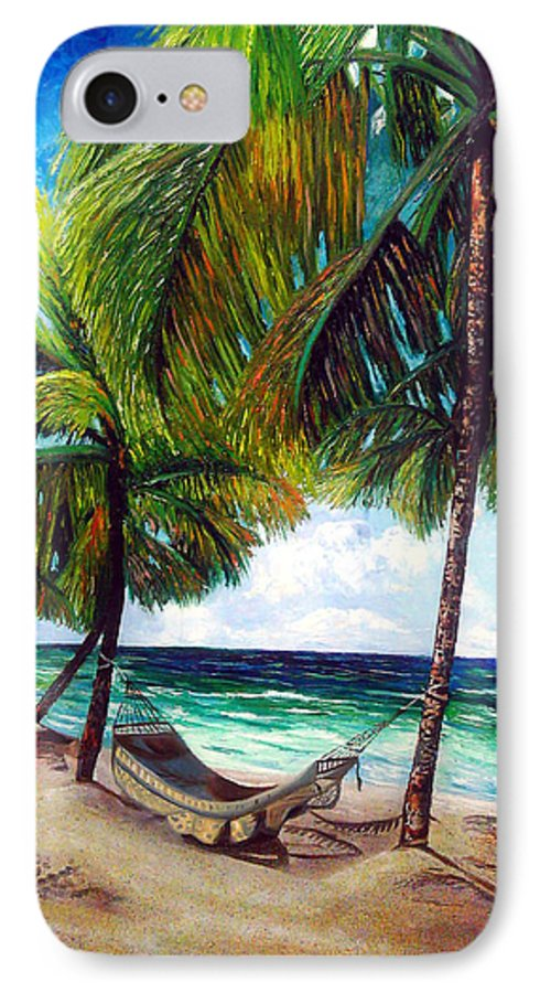Beach IPhone 7 Case featuring the painting On The Beach by Jose Manuel Abraham