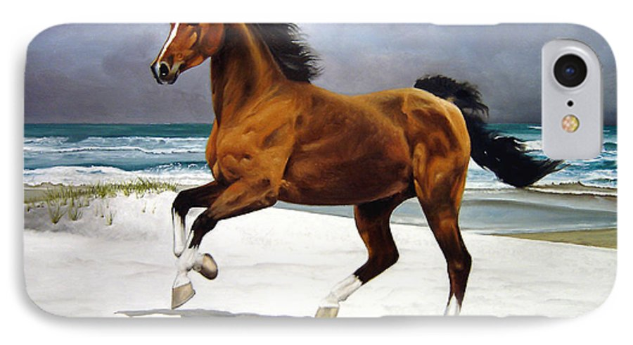 Horse IPhone 7 Case featuring the painting On The Beach by Marc Stewart