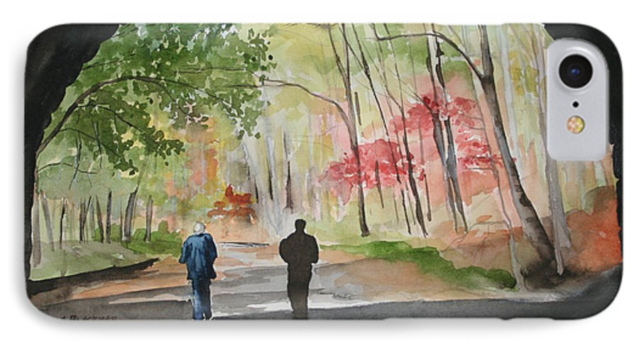 Road IPhone 7 Case featuring the painting On The Road To Nowhere by Jean Blackmer