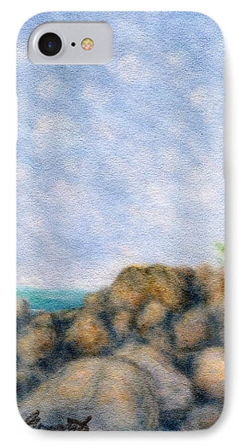 Rainbow Colors Pastel IPhone 7 Case featuring the painting On The Rocks by Kenneth Grzesik