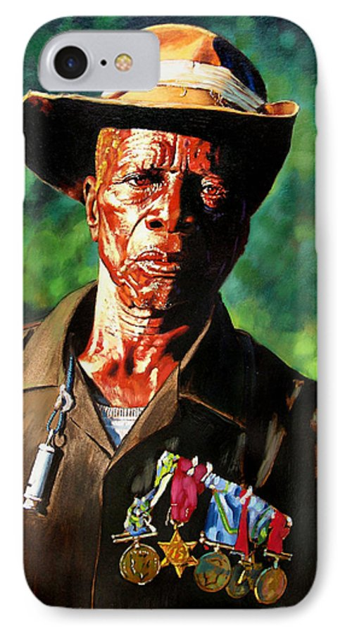 Black Soldier IPhone 7 Case featuring the painting One Armed Soldier by John Lautermilch