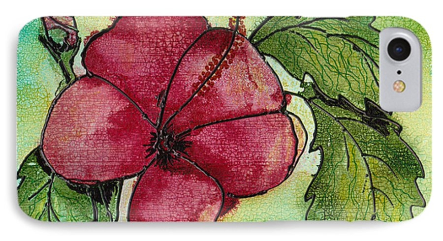 Flower IPhone 7 Case featuring the painting One Pink Hibiscus by Susan Kubes