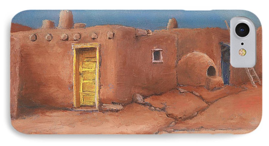 Taos IPhone 7 Case featuring the painting One Yellow Door by Jerry McElroy