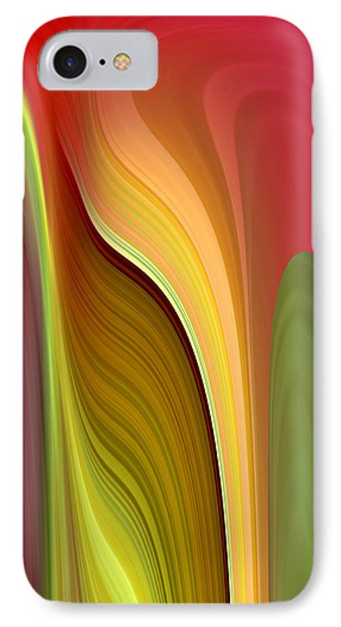 Abstract IPhone 7 Case featuring the digital art Oomph by Ruth Palmer