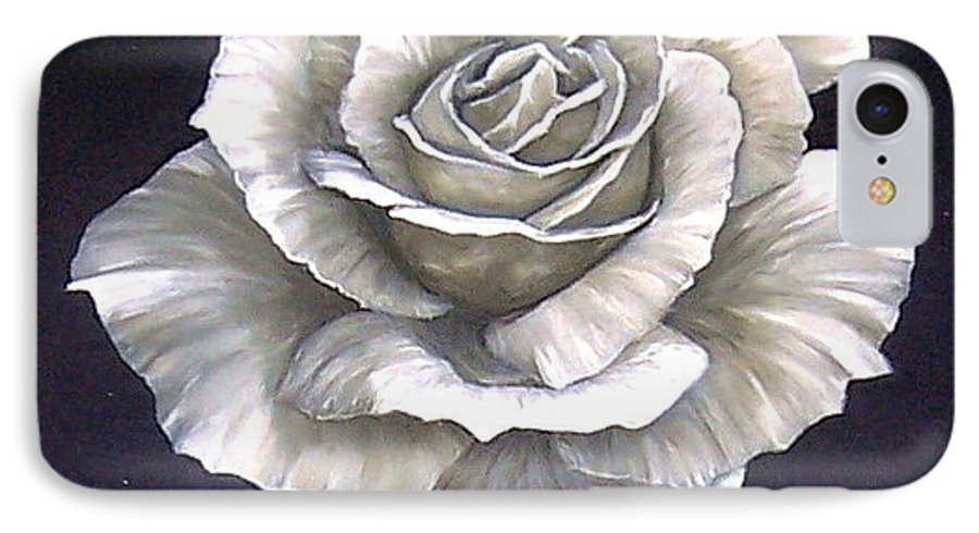 Rose Flower IPhone 7 Case featuring the painting Opened Rose by Natalia Tejera