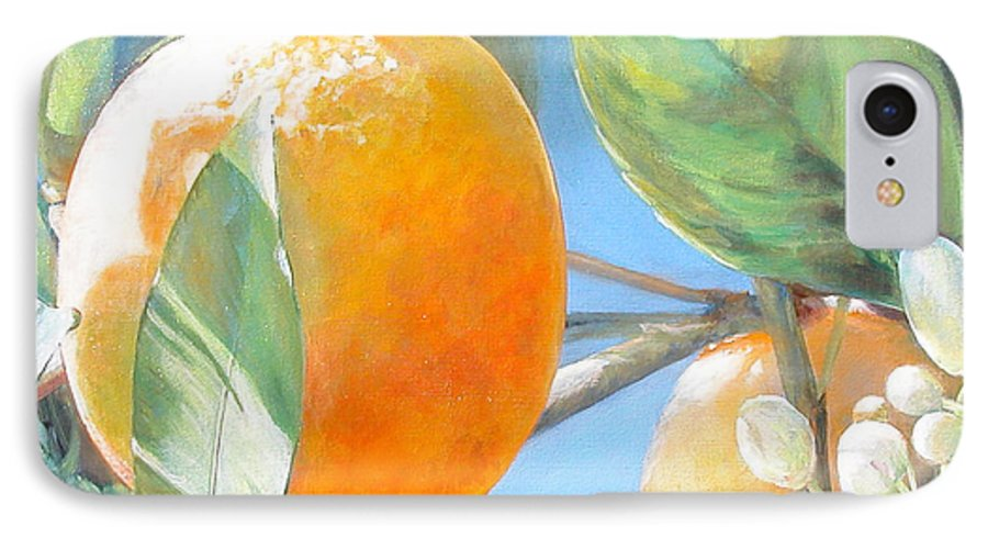 Floral Painting IPhone 7 Case featuring the painting Orange by Muriel Dolemieux