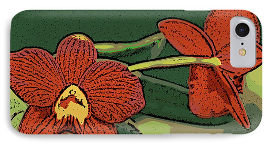 Orchid IPhone 7 Case featuring the photograph Orange Orchids by Ann Tracy
