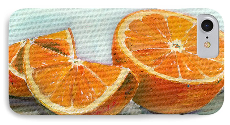 Oil IPhone 7 Case featuring the painting Orange by Sarah Lynch