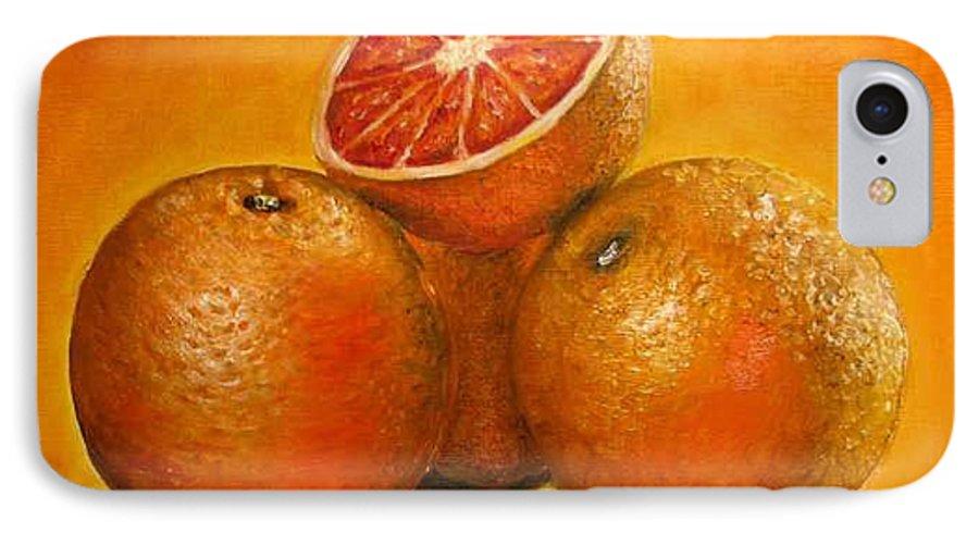 Oranges IPhone 7 Case featuring the painting Oranges Original Oil Painting by Natalja Picugina