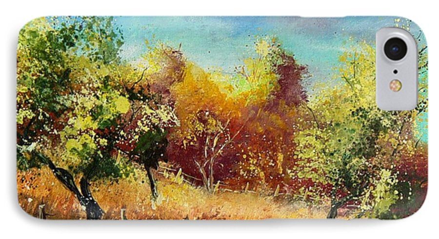 Flowers IPhone 7 Case featuring the painting Orchard by Pol Ledent