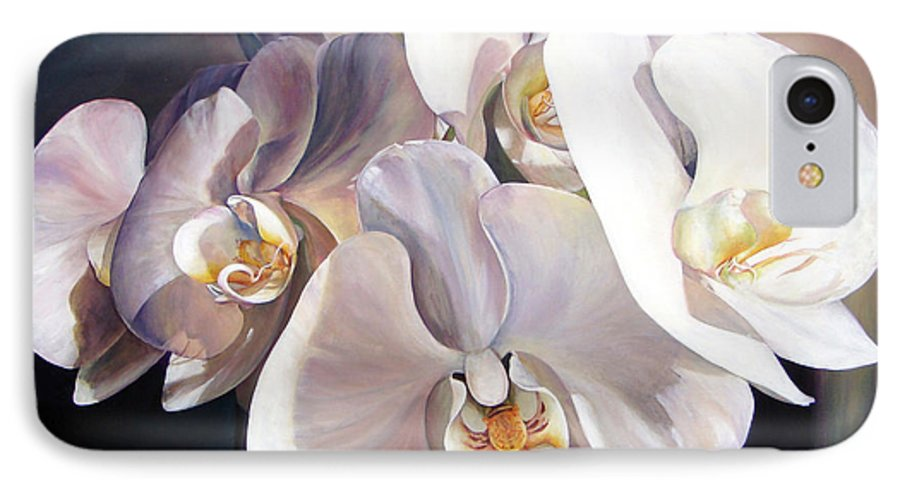 Floral Painting IPhone 7 Case featuring the painting Orchidee by Muriel Dolemieux