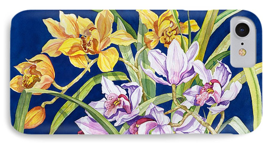 Orchids IPhone 7 Case featuring the painting Orchids In Blue by Lucy Arnold