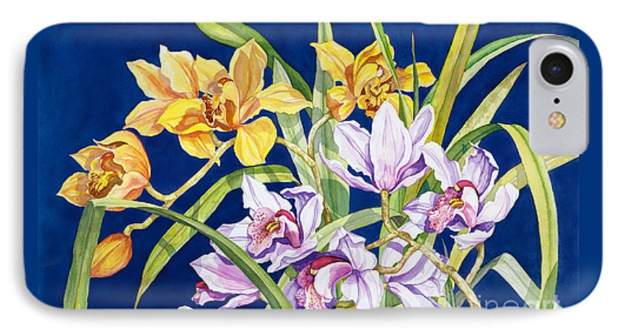 Orchids IPhone Case featuring the painting Orchids In Blue by Lucy Arnold