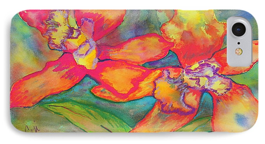Flowers IPhone 7 Case featuring the painting Orchids In Paradise by Cori Solomon