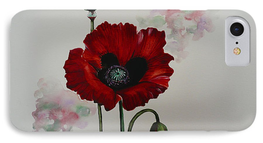 Floral Poppy Red Flower IPhone 7 Case featuring the painting Oriental Poppy by Karin Dawn Kelshall- Best