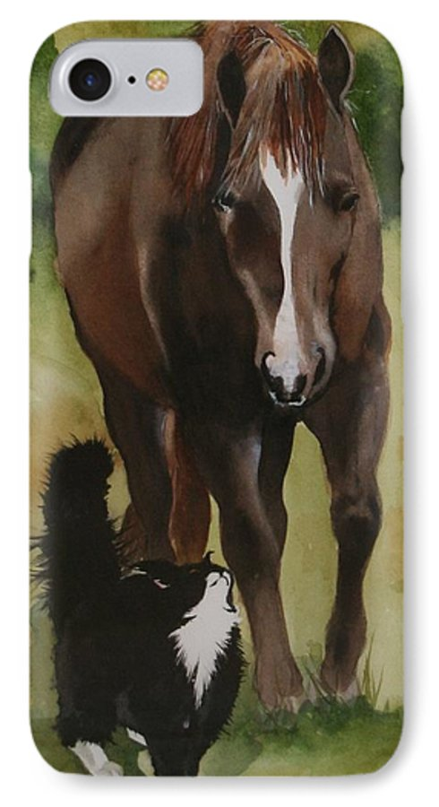 Horse IPhone 7 Case featuring the painting Oscar And Friend by Jean Blackmer