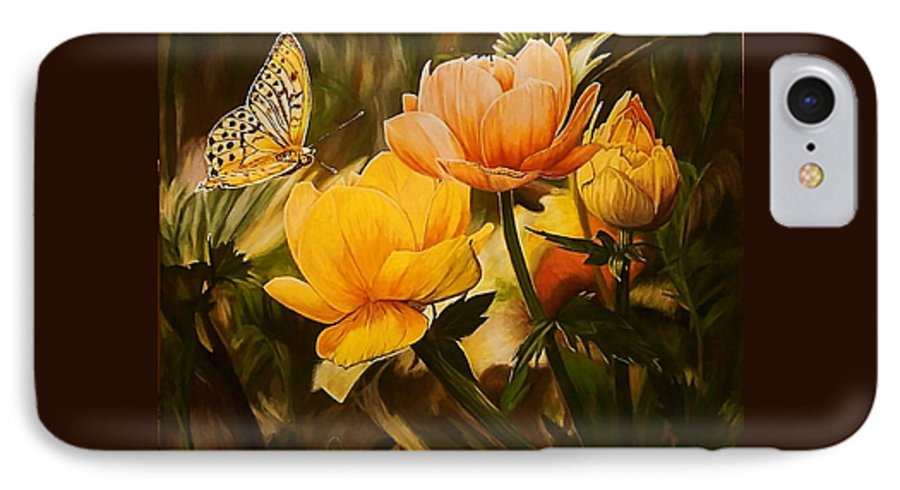 Acrylic IPhone 7 Case featuring the painting Out Of The Dark by Sheryl Gallant