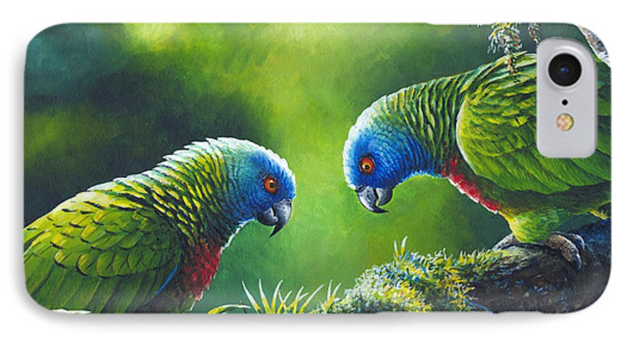 Chris Cox IPhone 7 Case featuring the painting Out On A Limb - St. Lucia Parrots by Christopher Cox