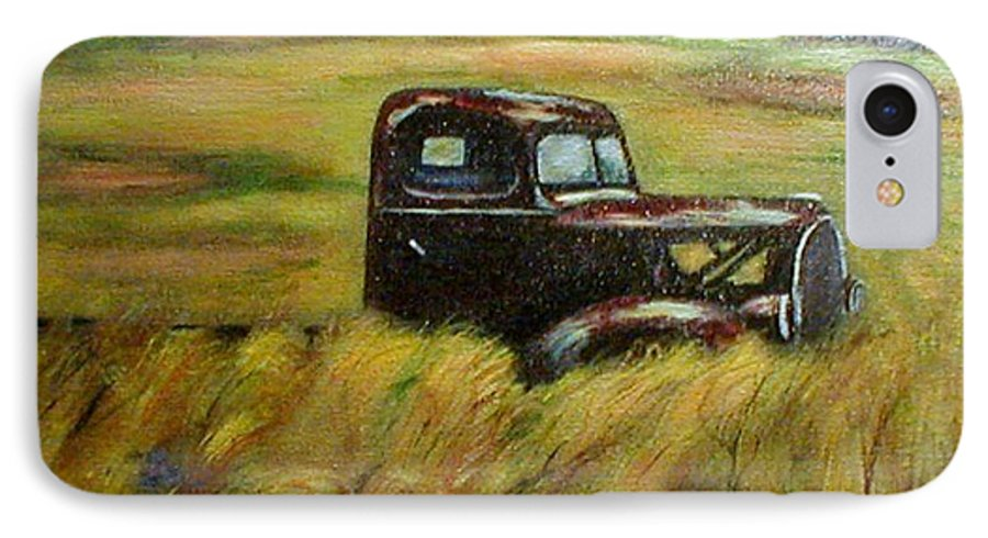 Vintage Truck IPhone 7 Case featuring the painting Out To Pasture by Gail Kirtz