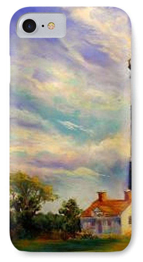 Lighthouse IPhone 7 Case featuring the painting Outer Banks Lighthouse by Lynee Sapere