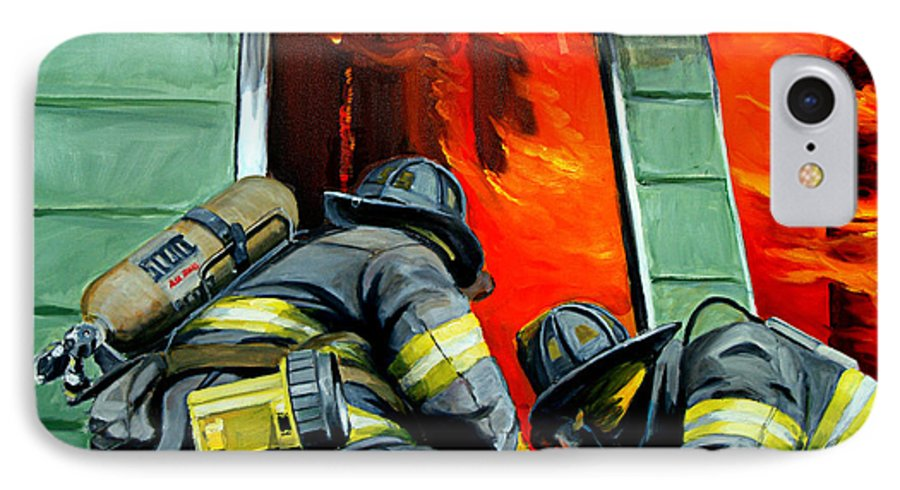 Firefighting IPhone 7 Case featuring the painting Outside Roof by Paul Walsh