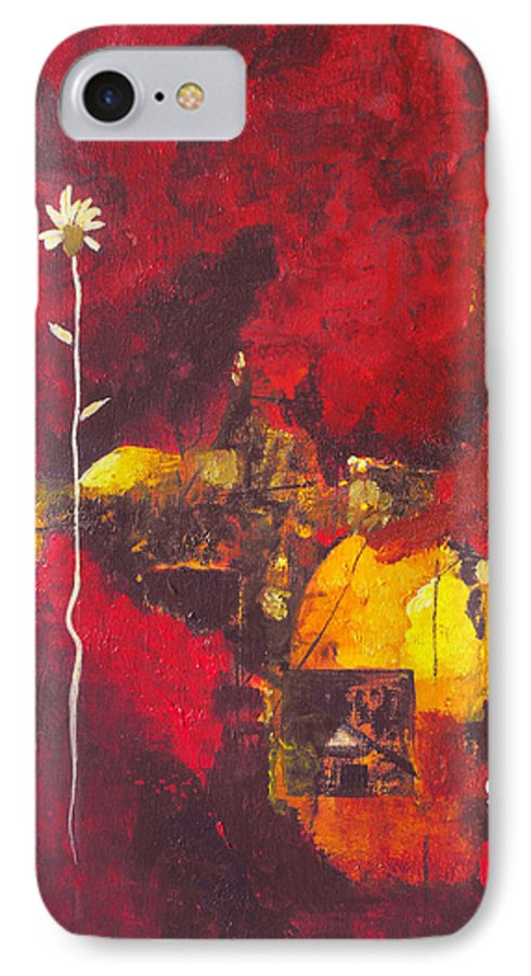 Abstract IPhone 7 Case featuring the painting Over The Broken Fence by Ruth Palmer