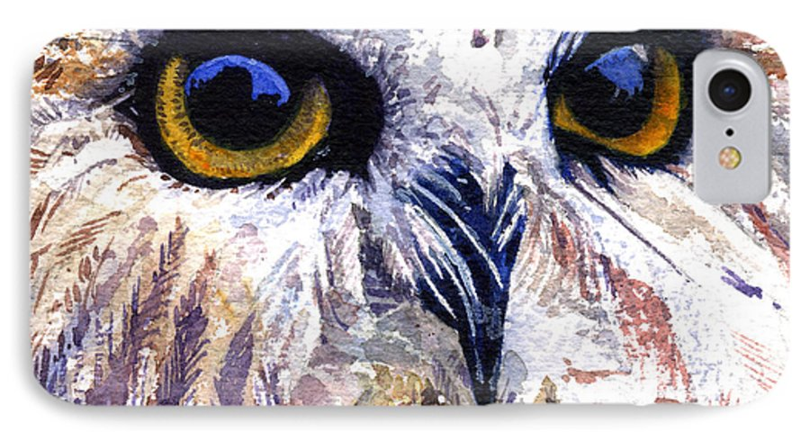 Eye IPhone 7 Case featuring the painting Owl by John D Benson