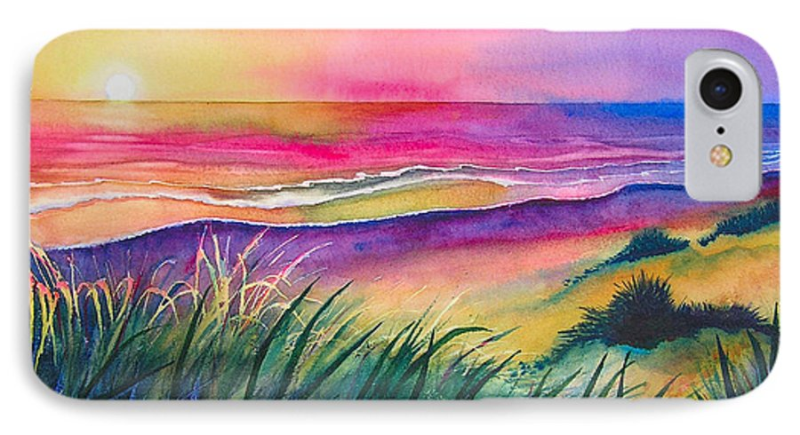 Pacific IPhone 7 Case featuring the painting Pacific Evening by Karen Stark