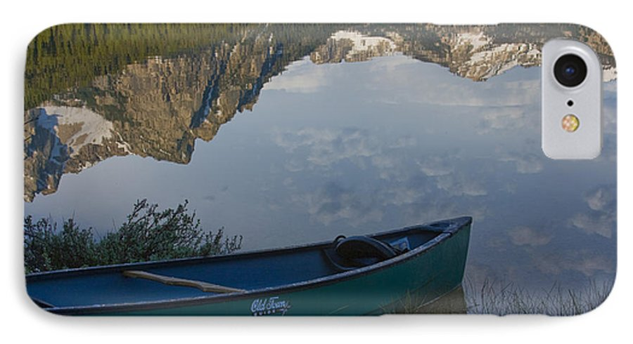 Canoe IPhone 7 Case featuring the photograph Paddle To The Mountains by Idaho Scenic Images Linda Lantzy