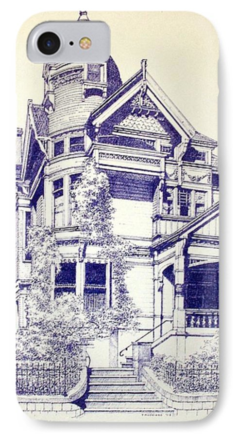 Victorian Mansions Houses Architecture Homessan Francisco IPhone 7 Case featuring the painting Painted Lady by Tony Ruggiero