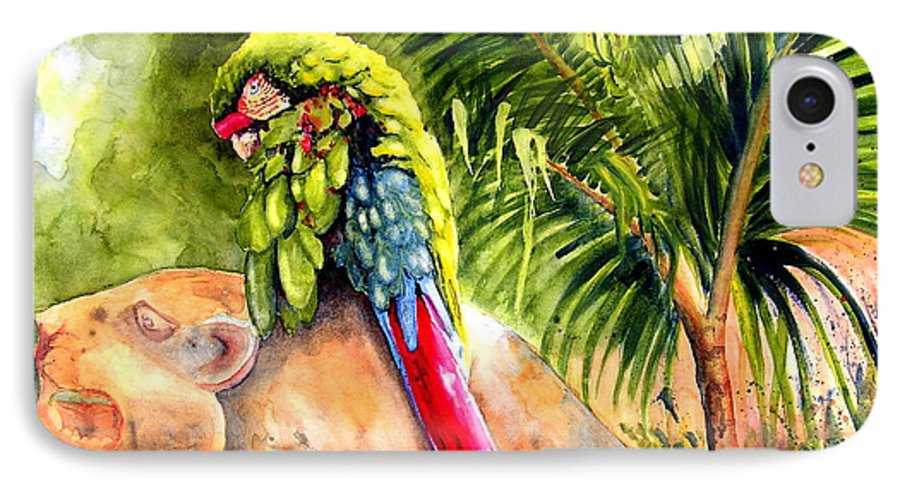 Parrot IPhone 7 Case featuring the painting Pajaro by Karen Stark