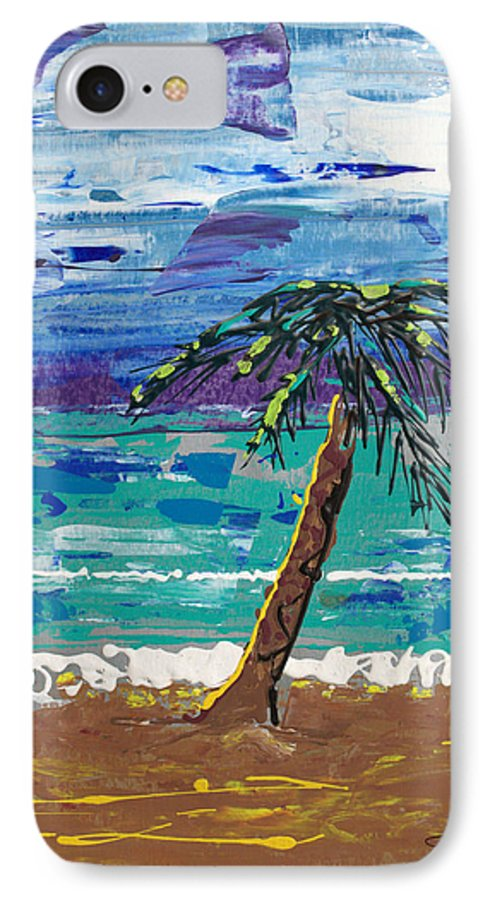 Palm Tree IPhone 7 Case featuring the painting Palm Beach by J R Seymour