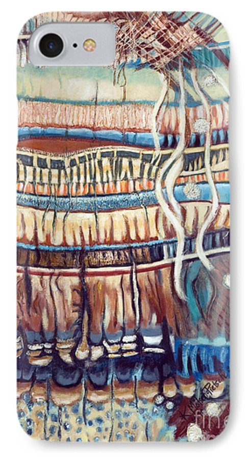 Abstract IPhone 7 Case featuring the painting Palm Contractions by Kerryn Madsen-Pietsch