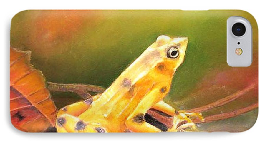 Endangered IPhone 7 Case featuring the painting Panamenian Golden Frog by Ceci Watson