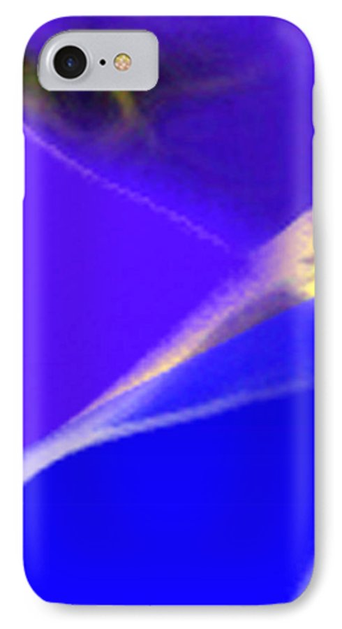 Abstract IPhone 7 Case featuring the digital art panel three from Movement in Blue by Steve Karol