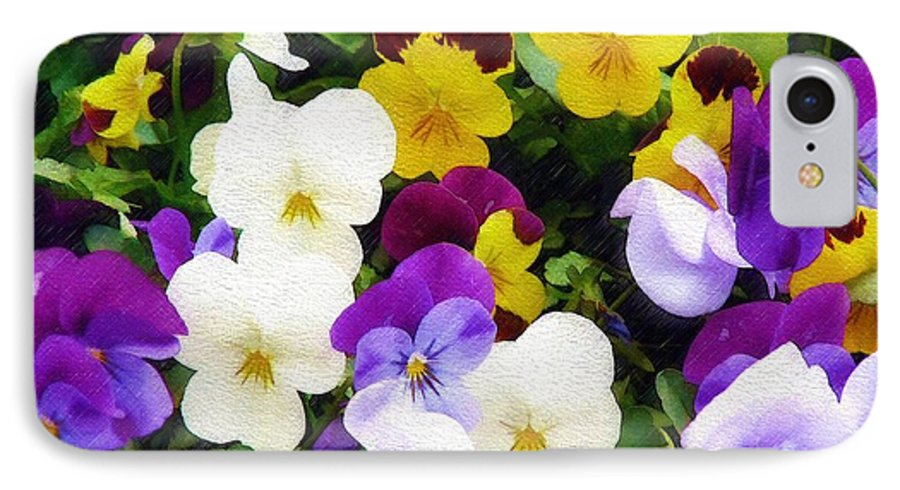 Pansies IPhone 7 Case featuring the photograph Pansies by Sandy MacGowan