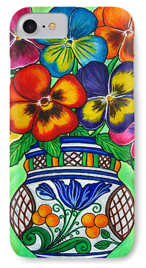 Flower IPhone 7 Case featuring the painting Pansy Parade by Lisa Lorenz