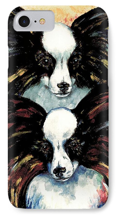 Papillon IPhone 7 Case featuring the painting Papillon De Mardi Gras by Kathleen Sepulveda