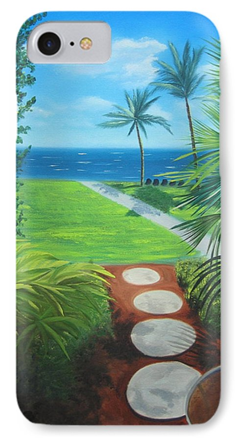 Seascape IPhone 7 Case featuring the painting Paradise Beckons by Lea Novak