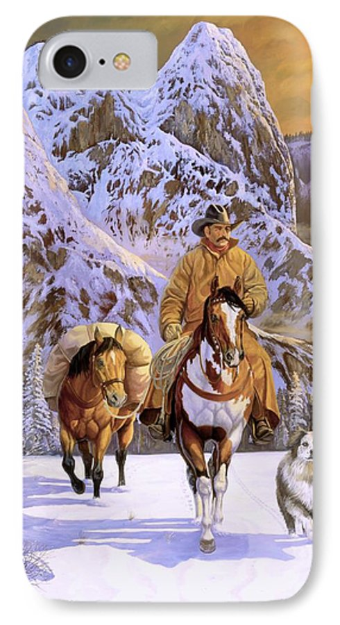 Cowboy IPhone 7 Case featuring the painting Pardners by Howard Dubois