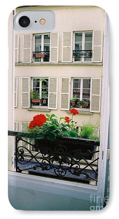 Window IPhone 7 Case featuring the photograph Paris Day Windowbox by Nadine Rippelmeyer