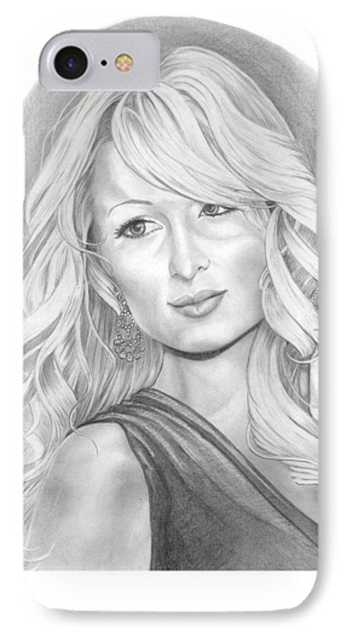 Portrait IPhone 7 Case featuring the drawing Paris Hilton by Murphy Elliott