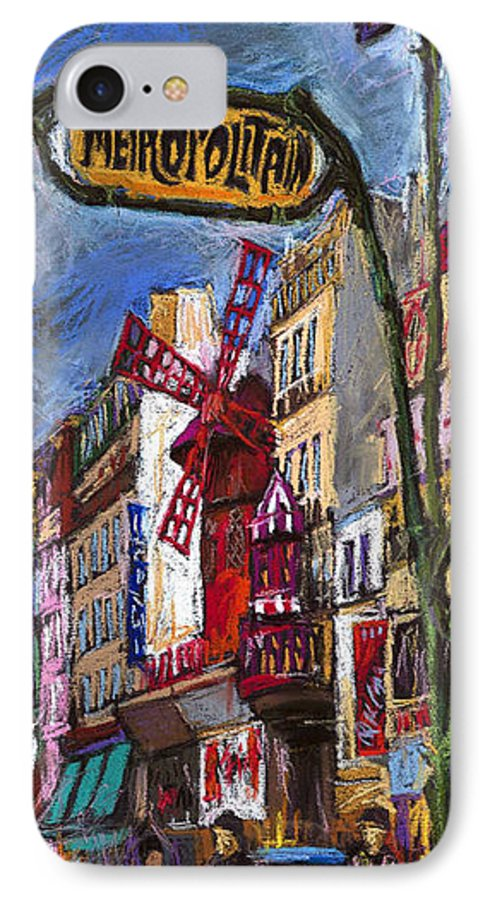 Cityscape IPhone 7 Case featuring the painting Paris Mulen Rouge by Yuriy Shevchuk