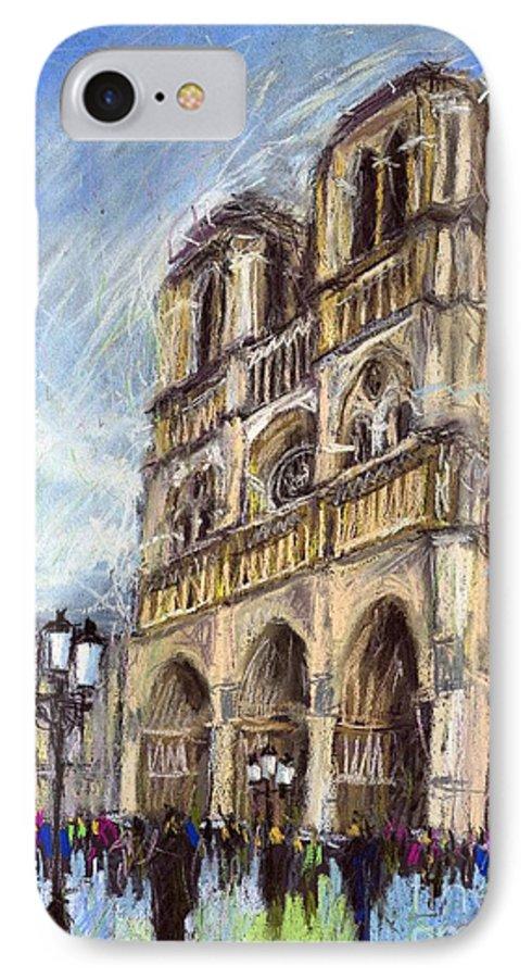 Cityscape IPhone 7 Case featuring the pastel Paris Notre-dame De Paris by Yuriy Shevchuk