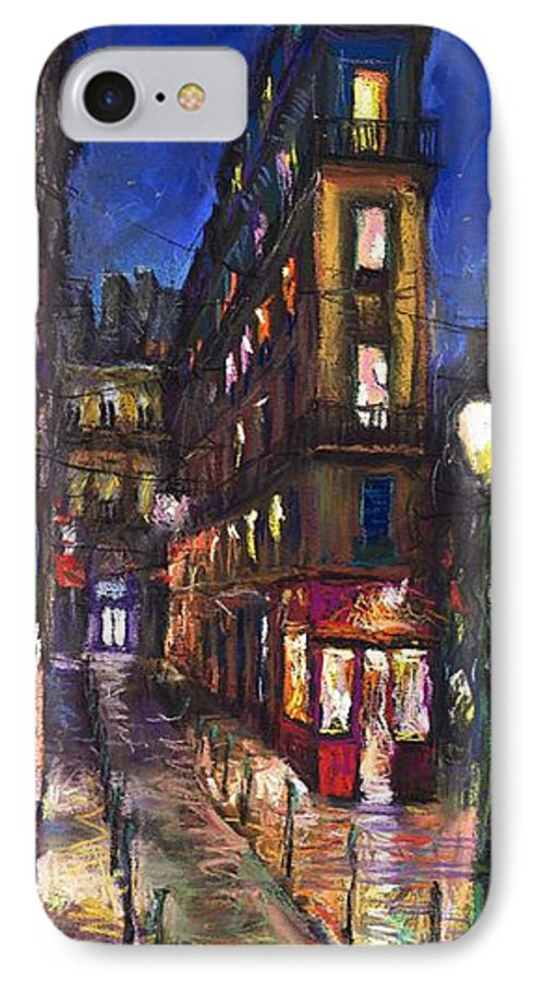 Landscape IPhone 7 Case featuring the painting Paris Old Street by Yuriy Shevchuk