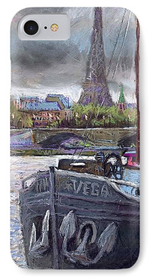 Pastel IPhone 7 Case featuring the painting Paris Pont Alexandre IIi by Yuriy Shevchuk