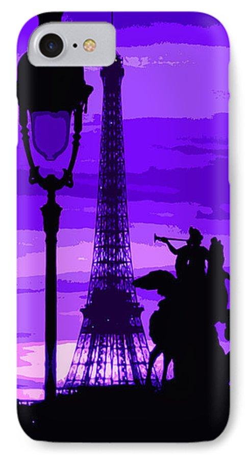 Paris IPhone 7 Case featuring the photograph Paris Tour Eiffel Violet by Yuriy Shevchuk