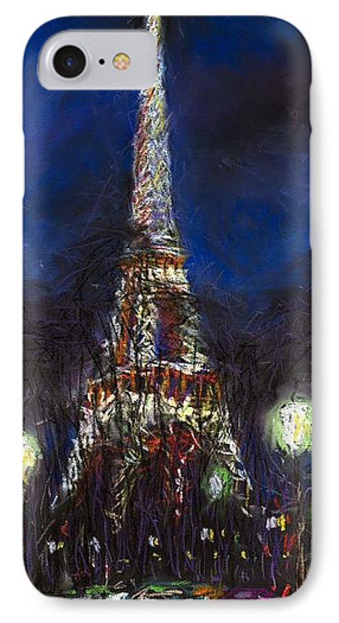 Pastel IPhone 7 Case featuring the painting Paris Tour Eiffel by Yuriy Shevchuk